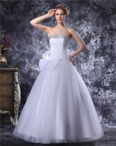 Strapless Floor Length Bowknot Beading Satin Womens Ball Gown Wedding Dress