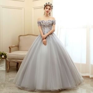 Elegant Grey Prom Dresses 2020 Ball Gown Off-The-Shoulder Short Sleeve Appliques Flower Beading Pearl Floor-Length / Long Ruffle Backless Formal Dresses