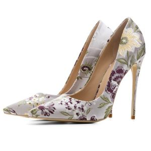 Chinese style Silver Embroidered Flower Prom Pumps 2020 Satin 12 cm Stiletto Heels Pointed Toe Pumps