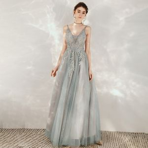 Sexy Grey Evening Dresses  2020 A-Line / Princess Spaghetti Straps Deep V-Neck Sleeveless Sequins Beading Floor-Length / Long Ruffle Backless Formal Dresses