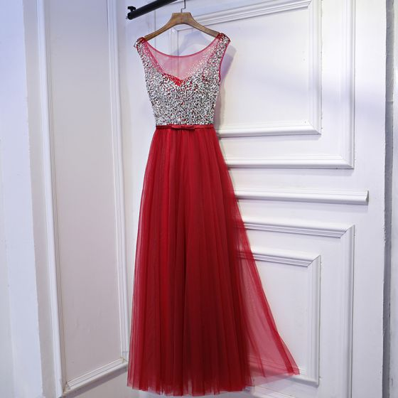 Sparkly Red Formal Dresses Evening Dresses  2017 Sequins Bow Backless Scoop Neck Sleeveless Ankle Length Empire