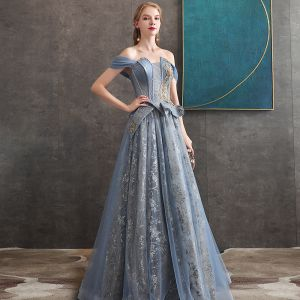 Elegant Ocean Blue Evening Dresses  2020 A-Line / Princess Off-The-Shoulder Short Sleeve Beading Glitter Tulle Floor-Length / Long Ruffle Backless Formal Dresses
