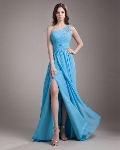 Ein Schultergurt Bodenlangen Chiffon Plissee Perlen Frau Abendkleid