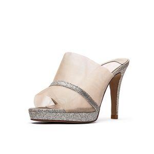 Fashion Gold Street Wear Womens Sandals 2020 Glitter Sequins 9 cm Stiletto Heels Open / Peep Toe Sandals