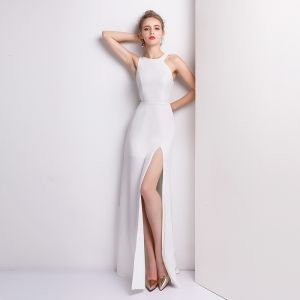 Schlicht Weiß Abendkleider 2018 A Linie Lange U-Ausschnitt Reißverschluss Polyester Abend Festliche Kleider
