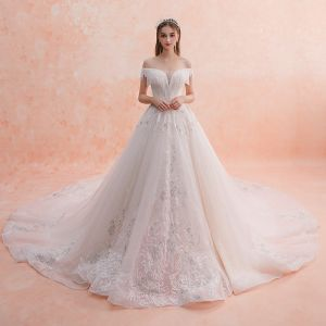 Charming Ivory Wedding Dresses 2019 A-Line / Princess Off-The-Shoulder Beading Tassel Lace Flower Sequins Short Sleeve Backless Royal Train