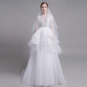 High-end White Wedding Dresses 2019 A-Line / Princess Scoop Neck Handmade  Beading Pearl Lace Flower Sequins Short Sleeve Cascading Ruffles Court Train