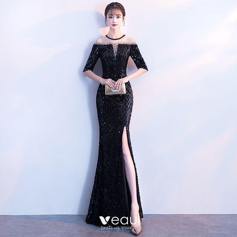 c03e147ce2 Seksowne Czarne Sukienki Wieczorowe 2018 Syrena   Rozkloszowane Cekiny  Podział Przodu Wycięciem 1 2 Rękawy Długość Kostki Sukienki Wizytowe