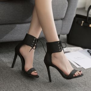 Affordable Black Casual Womens Sandals 2020 Ankle Strap 11 cm Stiletto Heels Open / Peep Toe Sandals