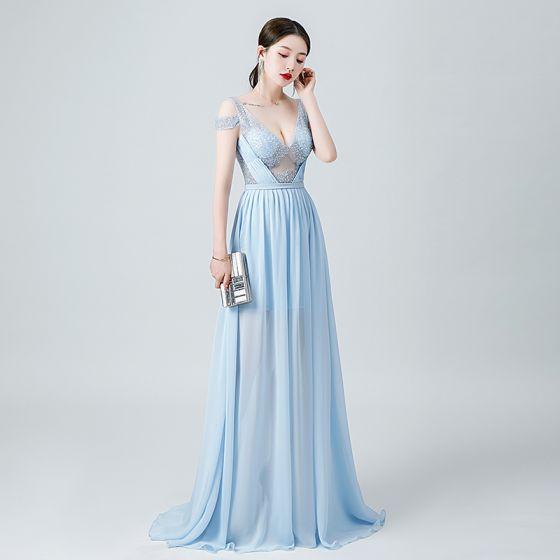 Sexy Sky Blue Chiffon See-through Evening Dresses  2020 A-Line / Princess Deep V-Neck Short Sleeve Beading Floor-Length / Long Ruffle Backless Formal Dresses