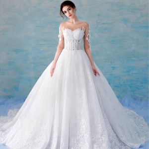 Stunning Illusion White See-through Wedding Dresses 2018 A-Line / Princess Scoop Neck 3/4 Sleeve Backless Beading Pearl Appliques Lace Ruffle Royal Train