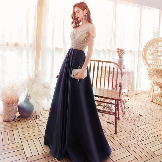 High-end Navy Blue Satin Evening Dresses  2020 A-Line / Princess See-through V-Neck Short Sleeve Beading Sweep Train Ruffle Backless Formal Dresses