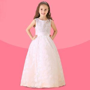 Weiß-blumenmädchenkleid Rock Prinzessin Kleid Kommunionkleider