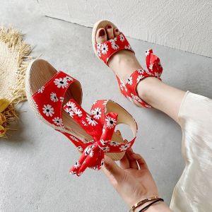 Fashion Summer Red Beach Womens Sandals 2020 Floral Bow 7 cm Wedges Platform Open / Peep Toe Sandals