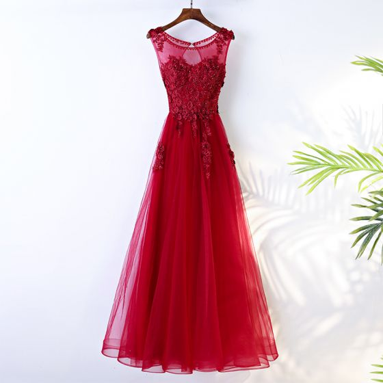 Chic / Beautiful Red Chinese style Evening Dresses  Appliques 2017 A-Line / Princess Crossed Straps Lace Beading Flower Sequins Scoop Neck Sleeveless Tea-length Evening Party