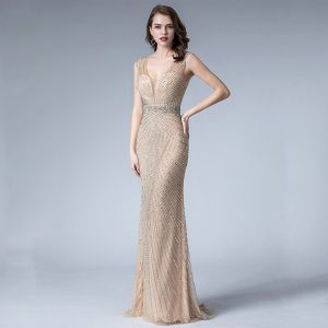 Sexy Champagne Evening Dresses  2019 Trumpet / Mermaid Deep V-Neck Sleeveless Handmade  Beading Sweep Train Backless Formal Dresses