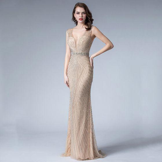 Sexy Champagne Evening Dresses  2019 Trumpet / Mermaid Deep V-Neck Sleeveless Handmade  Beading Sweep Train Backless Formal Dresses