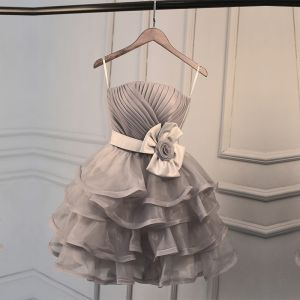 Piękne Szary Sukienki Na Studniówke 2017 Princessa Spaghetti Pasy Tiulowe Kwiat Bez Pleców Homecoming Sukienki Wizytowe