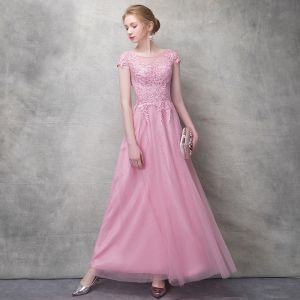 Chic / Beautiful Candy Pink Evening Dresses  2017 A-Line / Princess Flower Lace Rhinestone Scoop Neck Backless Short Sleeve Ankle Length Formal Dresses