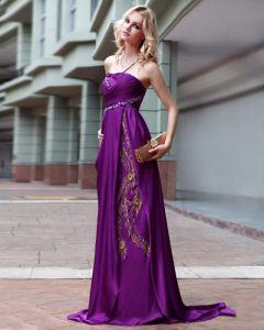 Satin Pleated Beading Halter Floor Length Evening Dresses