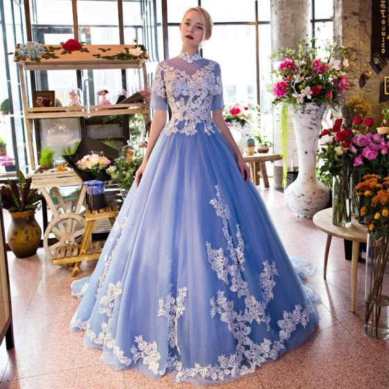 Chic / Beautiful Sky Blue Prom Dresses 2017 Chiffon Appliques Backless Embroidered Strappy Formal Dresses