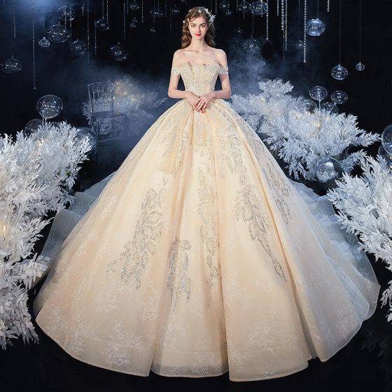 Chic / Beautiful Champagne Bridal Wedding Dresses 2020 Ball Gown Off-The-Shoulder Short Sleeve Backless Appliques Lace Beading Pearl Sequins Cathedral Train