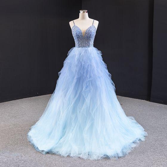 Fantastyczny Błękitne Sukienki Na Bal 2020 Princessa Spaghetti Pasy Bez Rękawów Frezowanie Trenem Sweep Wzburzyć Bez Pleców Sukienki Wizytowe