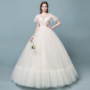 Discount See-through Champagne Wedding Dresses 2018 Ball Gown Square Neckline Short Sleeve Backless Pearl Beading Appliques Lace Ruffle Floor-Length / Long