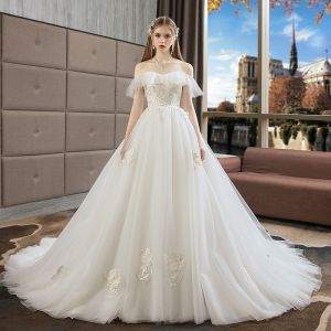 Elegant Ivory Wedding Dresses 2019 A-Line / Princess Organza Lace Flower Off-The-Shoulder Backless Short Sleeve Cathedral Train