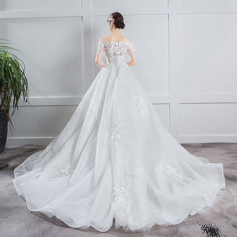 Elegant Ivory Pregnant Wedding Dresses 2019 Empire Off-The-Shoulder Sequins Appliques Lace Flower Short Sleeve Chapel Train