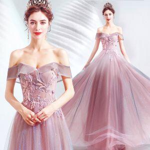 Charmig Godis Rosa Aftonklänningar 2020 Prinsessa Av Axeln Glittriga / Glitter Tyll Beading Spets Blomma Ärmlös Halterneck Långa Formella Klänningar