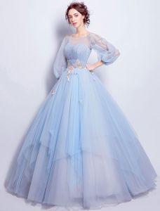 Fleur De Fée Robe De Bal 2017 Scoop Décolleté Applique Fleurs Colorées Volants Ciel Bleu Tulle Robe De Ceremonie