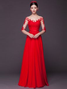 Sexiga Aftonklänningar 2016 Scoop Urringning Paljetter Applikations Spets Backless Röd Chiffong Långklänning