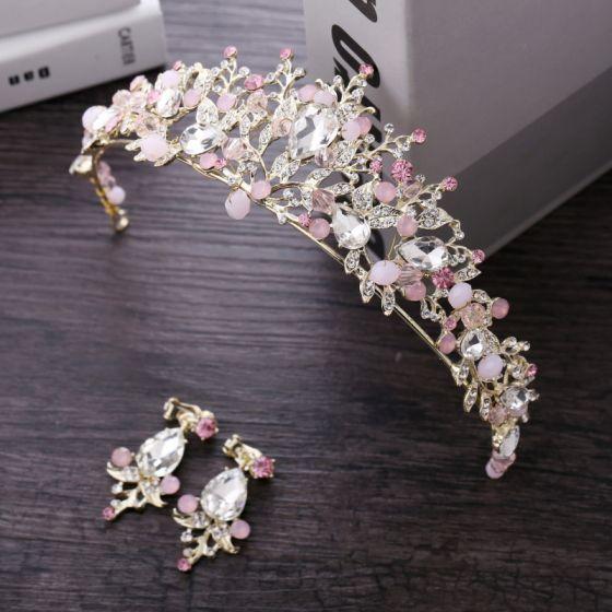 Chic / Beautiful Candy Pink Bridal Jewelry 2018 Metal Crystal Rhinestone Earrings Tiara Accessories