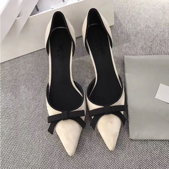 Chic / Beautiful Beige Dating Bow Womens Shoes 2021 Leather 10 cm Stiletto Heels Pointed Toe High Heels