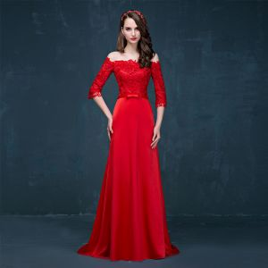 Chic / Beautiful Red Evening Dresses  2017 A-Line / Princess Off-The-Shoulder 3/4 Sleeve Appliques Lace Bow Sash Sweep Train Backless Formal Dresses