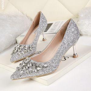 Scintillantes Argenté Chaussure De Mariée 2019 Faux Diamant Paillettes 6 cm Talons Aiguilles À Bout Pointu Mariage Escarpins
