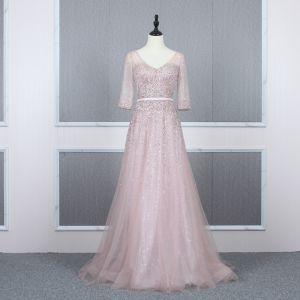 High End Rosa Abendkleider 2020 A Linie V-Ausschnitt 3/4 Ärmel Pailletten Perlenstickerei Stoffgürtel Sweep / Pinsel Zug Rüschen Rückenfreies Festliche Kleider