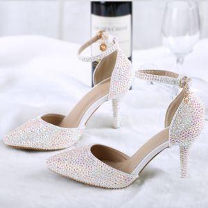 Charmant Fabelhaft Multifarben 2018 Perlenstickerei Strass Hochzeit Engagement Roter Teppich Brautschuhe
