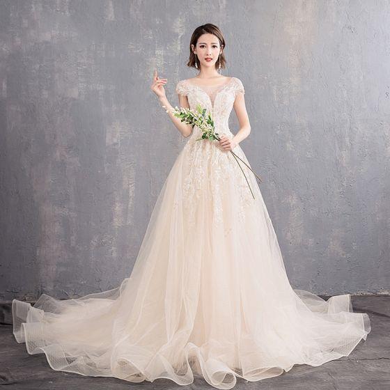 Eleganckie Szampan Przezroczyste Suknie Ślubne 2019 Princessa Wycięciem Rękawy z Kapturkiem Bez Pleców Aplikacje Z Koronki Frezowanie Perła Trenem Kaplica Wzburzyć