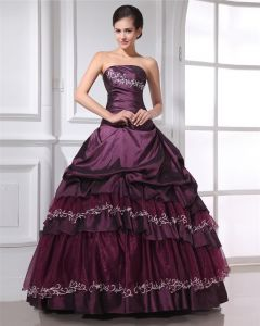 Ball Gown Taffeta Applique Ruffle Strapless Floor Length Quinceanera Prom Dress