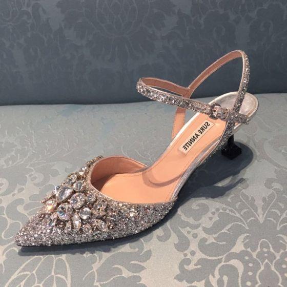 Sparkly Charmerende Lilla Selskabs Krystal Damesko 2020 Rhinestone Pailletter 8 cm Stiletter Spidse Tå Hæle