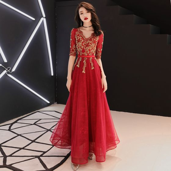 Chinese style Red Evening Dresses  2019 A-Line / Princess V-Neck 1/2 Sleeves Sash Gold Appliques Lace Floor-Length / Long Ruffle Formal Dresses