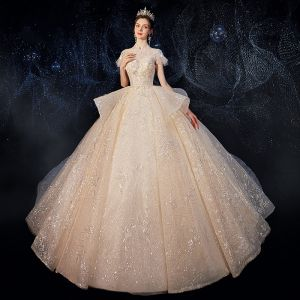 Vintage / Retro Champagne Bridal Wedding Dresses 2020 Ball Gown See-through High Neck Short Sleeve Backless Appliques Lace Sequins Beading Cathedral Train Ruffle