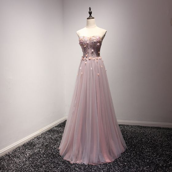 Chic / Beautiful Pearl Pink Evening Dresses  2017 A-Line / Princess Floor-Length / Long Cascading Ruffles Sweetheart Sleeveless Backless Pearl Beading Appliques Flower Formal Dresses