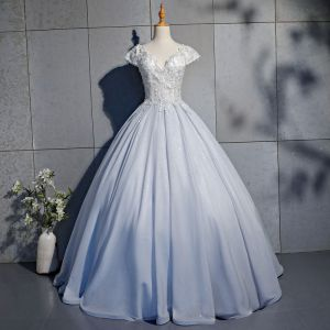Elegant Silver Prom Dresses 2019 Ball Gown Lace Beading Pearl Sequins V-Neck Backless Short Sleeve Floor-Length / Long Formal Dresses