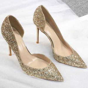 Glitzernden Gold Abend Glanz Pailletten Damenschuhe 2020 10 cm Stilettos High Heels Spitzschuh