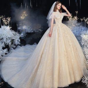 Audrey Hepburn-stijl Vintage Champagne Doorzichtige Bruids Trouwjurken 2020 Baljurk Hoge Kraag Korte Mouwen Appliques Bloem Kralen Chapel Train Ruche