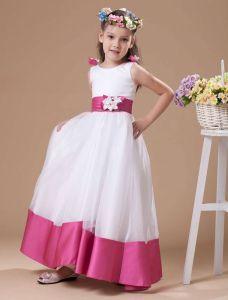 Vestido De La Longitud Del Piso De Satén Niña De Las Flores Blanco Una Línea