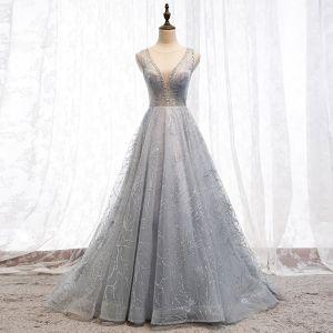 Uroczy Szary Sukienki Wieczorowe 2019 Princessa Wycięciem Frezowanie Cekiny Bez Rękawów Bez Pleców Trenem Sweep Sukienki Wizytowe